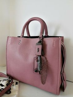 db7a5ce45 NWT COACH 23755 DUSTY ROSE MIXED LEATHER ROGUE + COACH FEATHER CHARM #Coach  #Satchel