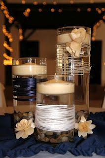 wrapped with ribbon Floating candles center pieces
