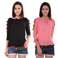 07aadcd1c8525d BuyNewTrend Cotton Crepe PomPom Top For Women (Pack of 2)
