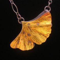 "Gold Ginko Leaf Pendant 18"" Chain  Shop: Kirk Sklar Jewelry"