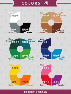 Colors in Korean language Korean Words Learning, Korean Language Learning, Language Lessons, Learn A New Language, Korean Verbs, Korean Phrases, Learn Basic Korean, How To Speak Korean, Korean Handwriting