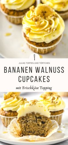 Recipe for banana walnut cupcakes with cream cheese topping, easy and quick. Juicy banana walnut muffins with buttercream cream cheese topping. Cake Recipes From Scratch, Easy Cookie Recipes, Nutella Muffins, Cream Cheese Topping, Banana Chips, Banana Recipes, Cake Decorating Tips, Creative Cakes, Food Cakes