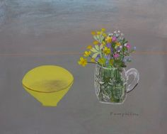 """""""Yellow Conran Bowl and Meadow Flowers"""" by Elaine Pamphillon (mixed media on wooden panel)"""