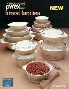 Just bought 441-444 Nesting Bowls! So excited for them to arrive!   Pyrex - Forest Fancies (1981) - 401 Nesting Bowl, 402 Nesting Bowl