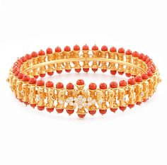 Coral and Gold Indian Bracelet : fashion accessory design fashion accessories co… - Gold Jewelry Plain Gold Bangles, Gold Bangles Design, Gold Jewellery Design, Diamond Jewellery, Designer Jewellery, Diamond Bangle, Antique Jewellery, Coral And Gold, Gucci