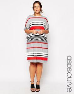 ASOS CURVE T-Shirt Dress In Stripe