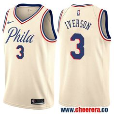 d44490338 Philadelphia 76ers  3 Allen Iverson Cream Nike NBA Men s Stitched Swingman  Jersey City Edition