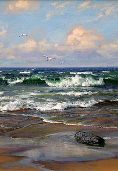 Por amor al arte: Charles Vickery Landscape Art, Landscape Paintings, Sea Art, Seascape Paintings, Pictures To Paint, Ocean Waves, Original Paintings, Scenery, Fine Art