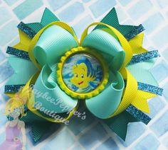 Little Mermaid hair bow Flounder hair bow princess by JaybeePepper, $7.50