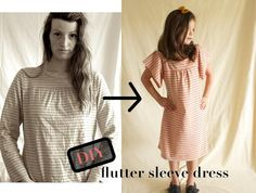 DIY Clothes Refashion: DIY Flutter Sleeve Dress