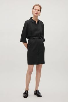 COS image 1 of Oversized shirt dress in Black