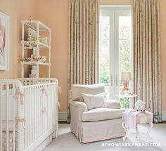 Nursery Drapes in Schumacher Mary McDonald Chinois Palais in Blush Conch Pink (AtHomeArkansas)