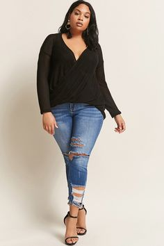 Product Name:Plus Size Surplice High-Low Top, Category:CLEARANCE_ZERO, Price:28