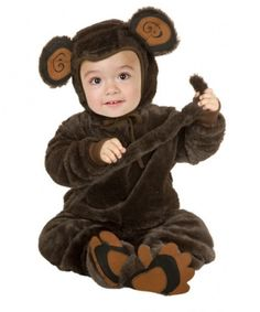 Kids Monkey Costume - This is an adorable monkey costume. This is a three-piece costume with a bodysuit, hood and slippers. The entire costume is made of incredibly soft brown faux fur. The suit opens up at the back from the collar. It ties close with attached string. The sleeves have soft, stretchy cuffs. The hem of the pants is elasticized. On the lower back is an attached plush tail. #animal #monkey #kids #toddler #children #yyc #calgary #costume