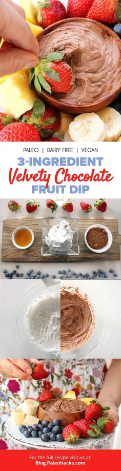 This decadent, 3-ingredient chocolate fruit dip is light and silky with just a touch of sweetness! Get the recipe here: http://paleo.co/chocofruitdip