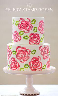 DIY: Celery Stamp Rose Cake | Half Baked - The Cake Blog