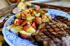 """""""Breakfast potatoes""""  can be served anytime - red potatoes, garlic, onion, red and green bell peppers, oil, butter, salt, cayenne, black pepper"""