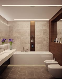 Bad modern gestalten mit Licht gorgeous contemporary stream lined bathroom. trough sink, ledges in contrasting material, it all works Interior apartment in LCD Grand Park, Architectural Office of Alexandra Fedorova Bathroom Toilets, Bathroom Renos, Bathroom Interior, Master Bathroom, Bathroom Vanities, Bathroom Ideas, Bathroom Remodeling, Beige Bathroom, Bathroom Inspo