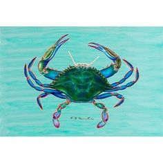 """Coastal Blue Crab Door Mat Size: 18"""" H x 26"""" W by Betsy Drake Interiors. $28.00. DM004 Size: 18"""" H x 26"""" W Features: -Material: Polyester.-Pattern: Blue crab.-Made of synthetic washable material.-Will stand up to years of wear with a non-slip rubber backing. Collection: -Coastal collection."""