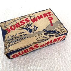 Vintage Candy Box Kisses Guess What Parachute Puzzle Theater Box Williamson #GuessWhat #vintage #candy #theater