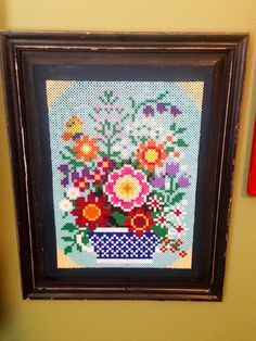 Framed flowers perler bead art    by DearGawd