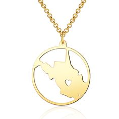 Items similar to West Virginia Necklace - Gold plated West Virginia Map Pendant - State Necklace - Map necklace with circle - Can be made at any State on Etsy State Necklace, Map Necklace, Gold Necklace, Circle Map, Memorial Jewelry, Special Gifts, 18k Gold, Pendant