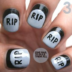 Halloween Nails. Rip. I like how halloweenish these are without being too much!