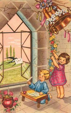 Buona Pasqua 1955 Easter Greeting Cards, Vintage Greeting Cards, Vintage Christmas Cards, Retro Christmas, Vintage Holiday, Easter Illustration, Retro Illustration, Vintage Pictures, Vintage Images
