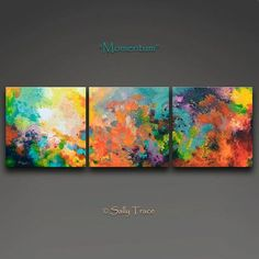 Momentum stretched canvas giclee prints are made from my original abstract triptych fluid painting. Three 16x16 inch canvases = 16x48 inches Three 18x18 inch canvases = 18x54 inches Three 20x20 inch canvases = 20x60 inches Please allow a few inches in between the canvases when