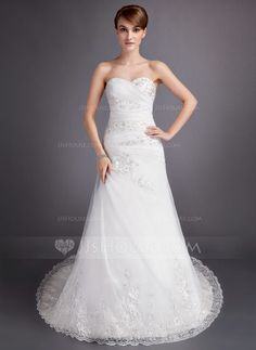 A-Line/Princess Sweetheart Chapel Train Satin Tulle Wedding Dress With Ruffle Beading Appliques Lace (002011742) - JJsHouse