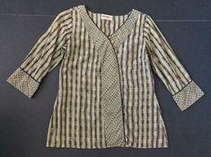 Fabindia Shirt S Handmade In India Peasant Sage Green Brown Beige Lightweight     eBay