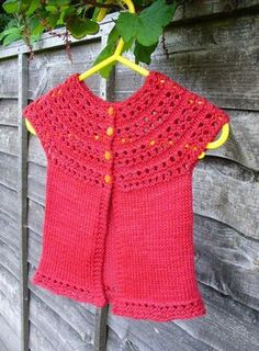 Rosaline is a sweet little cardigan knit all in one piece from the top down with absolutely no seaming required, sized from newborn baby up to 8 years old. Crochet Yarn, Knitting Yarn, Baby Knitting, Crochet Top, Knitting Patterns, Baby Vest, Baby Cardigan, Knit Cardigan, Lang Yarns