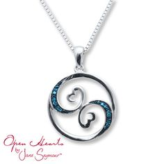 Open Hearts Necklace Blue Diamond Accents Sterling Silver - somehow makes me think of the ocean Christmas 2014 Blue Diamond Necklace, Diamond Necklaces, Silver Diamonds, Sterling Silver Necklaces, Silver Earrings, Silver Ring, Fine Jewelry, Yoga Jewelry, Heart Jewelry