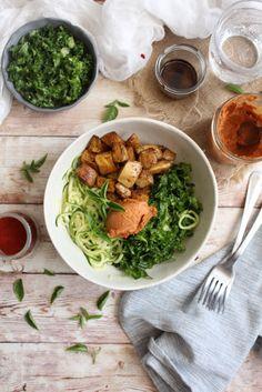 Paprika Rubbed Potatoes Buddha Bowl + Zoodles Kale & Pesto