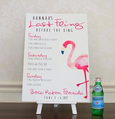 Planning a bachelorette party? Check out these Flamingo Bachelorette Party Itinerary Poster. Personalized & Printed Sign. Flamingo Party Decorations. Beach Bachelorette Last Fling Signs. Bachelorette Party Ideas