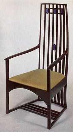 Armchair by Charles Rennie Mackintosh Mackintosh Furniture, Charles Rennie Mackintosh Designs, Art Nouveau Furniture, Love Chair, Glasgow School Of Art, Take A Seat, Art Deco Design, Cool Furniture, Armchair