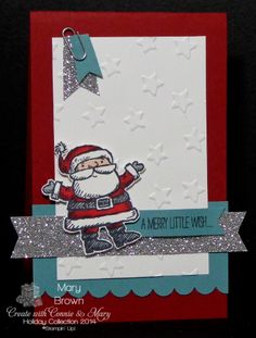 stampercamper.com - Okay...I'm a little behind in my posting.  Saturday was the LAST Create with Connie and Mary Design Team Blog Hop.  Don't worry...it's not too late to do the hop!  Anyway since I use the CUTE set Get Your Santa On for my last project...I used it for my hop card.  For all the details and to start the hop, head over to my blog.  Set:  Get Your Santa On
