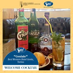 """Per """"Yes! Welcome Cocktail"""" l' Best Western Hotel Genio ha preparato """"Geniale"""", un cocktail a base di Vermouth Anselmo, uno dei più antichi di Torino!   Preparazione e dosi: - 2/5 di Vermouth Anselmo Rosso  - 2/5 di Cognac  - 1/5 di Cynar   Colmare il bicchiere con ghiaccio, menta fresca, una fetta d'arancia e acqua tonica.  Si consiglia bicchiere a forma cilindrica di capacità 25-30 cl.  Bevi responsabilmente, scegli la qualità!"""