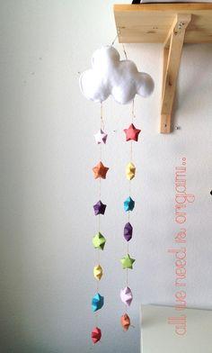RAINDROPS baby NURSERY MOBILE  rainbow by allweneedisorigami, $39.00