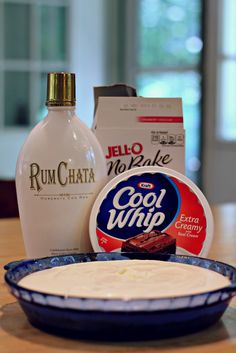 Made for my sons 21st Bday   Rum Chata Cheese Cake  1 box cheese cake mix, rum chata,  cool whip. follow directions on box for crust  for filling use 3/4c milk   3/4c Rum Chata mix well then fold in about 3/4 tub cool whip  spread on prepared pie crust, Chill or freeze. Can top with cherry's or any fruit desired :) Enjoy!!