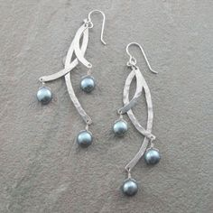 Curved Sterling Silver Hammered Three Bar Earrings by bluepiranha, $114.00