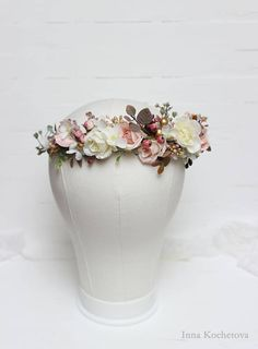 Elegant floral crown will be perfect for your wedding, photoshoot or other celebrations. Flower crown is decorated with fabric flowers. Details ------------------------------------------------------------------------ Flower crown created without the use of glue