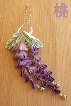Monthly Hana Kanzashi. May: dangling Wisteria, floral hair accessory. Fuji Kanzashi 藤