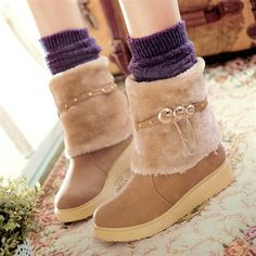 Snow boots women's flat boots thick wool keep warm in winter with snow boots winter boots Candy-colored shoes, plus size women boots