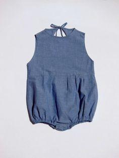 Organic Baby Romper/Onesies in Blue Organic by PierroSewStudio/// oh god this is too cute!