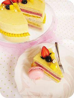 Romance - Mango, raspberry and kumquat white chocolate mousse entremet
