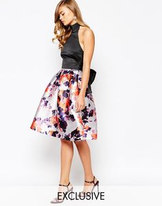 Image 1 of True Violet Midi Skirt In Print