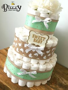 Bunny Burlap and Mint Green 3 Tier Diaper Cake for Gender Neutral Baby Shower by BuzzyDiaperCakes on Etsy https://www.etsy.com/listing/279941858/bunny-burlap-and-mint-green-3-tier