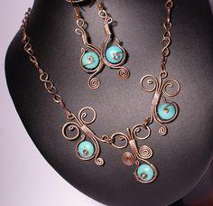 Envuelta de cobre conjunto turquesa joyería por BeyhanAkman en Etsy Más