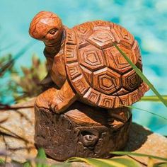 Wood Carved Tortoise | Forest Friend Wood Carved Style Turtle Outdoor Garden Statue